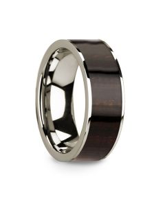 Men's Polished 14k White Gold with Ebony Wood Inlay Wedding Ring - 8mm