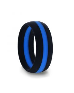 Matte Black Men's Silicone Ring ring With Vibrant Blue Colored Inlay - 8mm