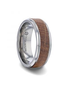 CASK Whiskey Barrel Inlaid Titanium Men's Wedding Band With Beveled Polished Edges Made From Genuine Whiskey Barrels Used By Jack Daniel's Distillery - 8mm
