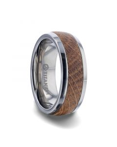 STAVE Jack Daniels  Whiskey Barrel Inlaid Titanium Men's Wedding Band With Flat Polished Edges - 8mm