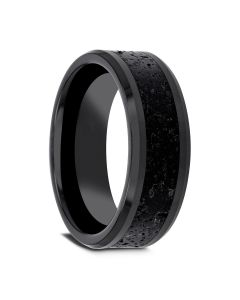 VESUVIUS Men's Polished Black Ceramic Wedding Band with Black & Gray Lava Rock Stone Inlay & Polished Beveled Edges - 6mm & 8mm