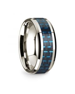 14k White Gold Polished Beveled Edges Wedding Ring with Black and Blue Carbon Fiber Inlay - 8 mm
