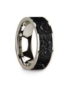 Flat Polished 14k White Gold Wedding Ring with Lava Rock Inlay - 8 mm