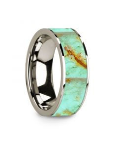 Flat Polished 14k White Gold Wedding Ring with Turquoise Inlay - 8 mm