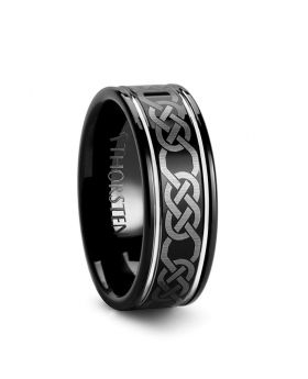 KILKENNY Black Tungsten Ring with Celtic Pattern - 8mm