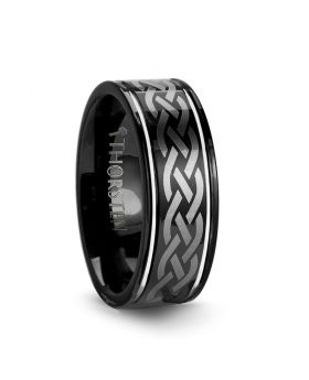 KILDARE Celtic Engraved Design Black Tungsten Wedding Band - 8 mm