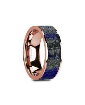 GALEN Flat 14K Rose Gold with Blue Lapis Lazuli Inlay and Polished Edges - 8mm