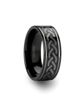 KILMORE Black Tungsten Carbide Ring with Celtic Pattern - 8mm